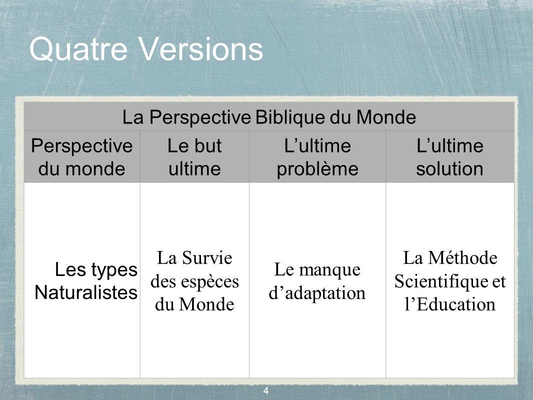 Quatre Versions La Perspective Biblique du Monde Perspective du monde