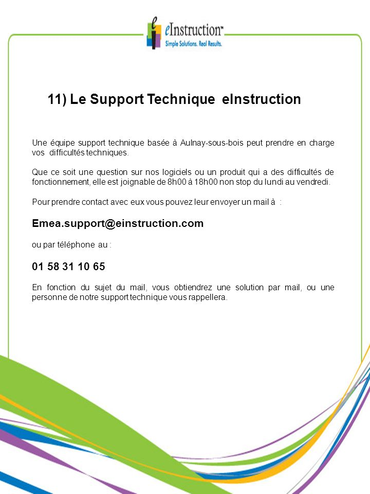 11) Le Support Technique eInstruction