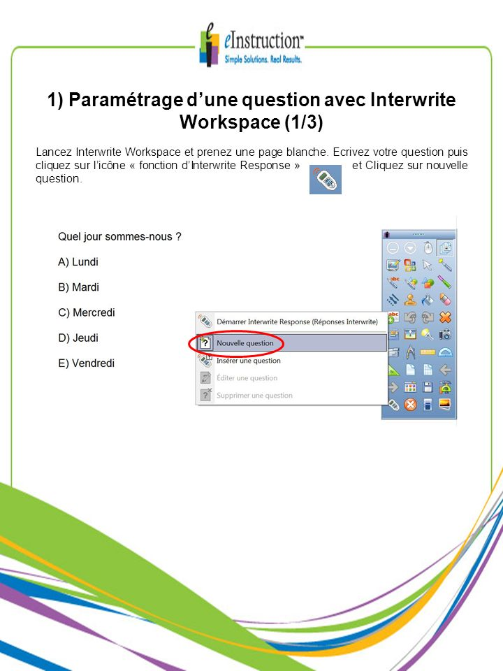 1) Paramétrage d'une question avec Interwrite Workspace (1/3)