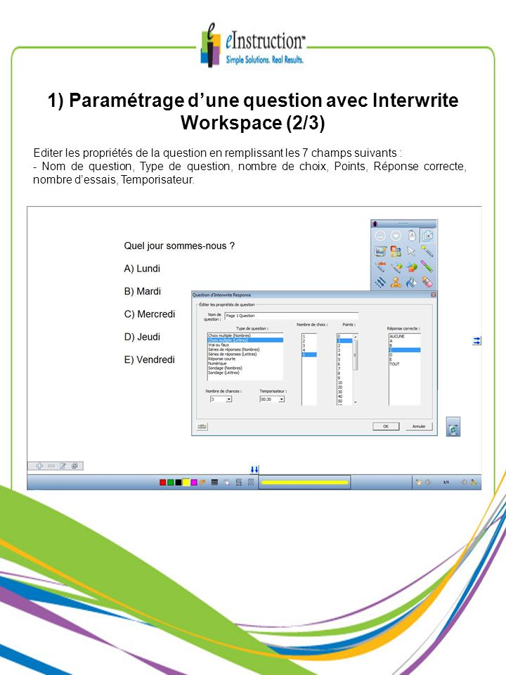 1) Paramétrage d'une question avec Interwrite Workspace (2/3)