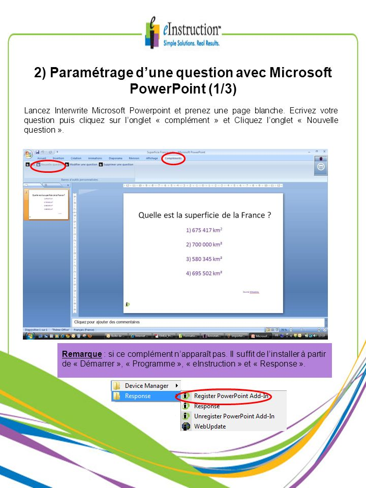 2) Paramétrage d'une question avec Microsoft PowerPoint (1/3)
