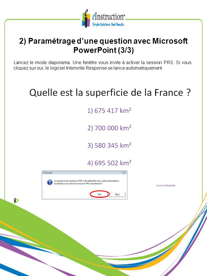 2) Paramétrage d'une question avec Microsoft PowerPoint (3/3)