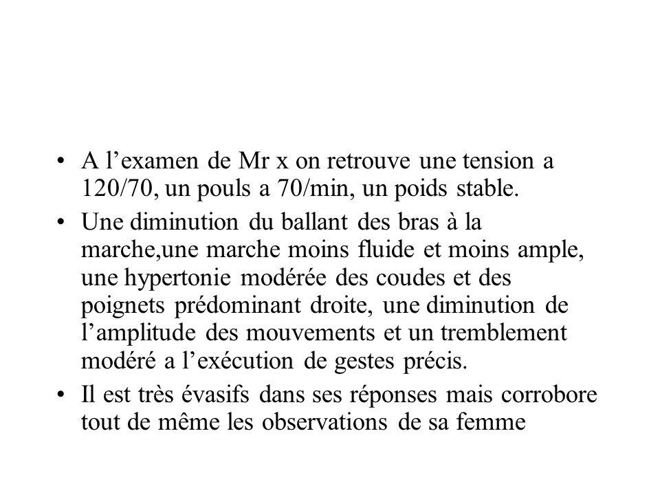A l'examen de Mr x on retrouve une tension a 120/70, un pouls a 70/min, un poids stable.
