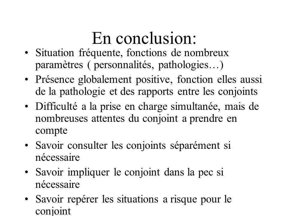 En conclusion: Situation fréquente, fonctions de nombreux paramètres ( personnalités, pathologies…)