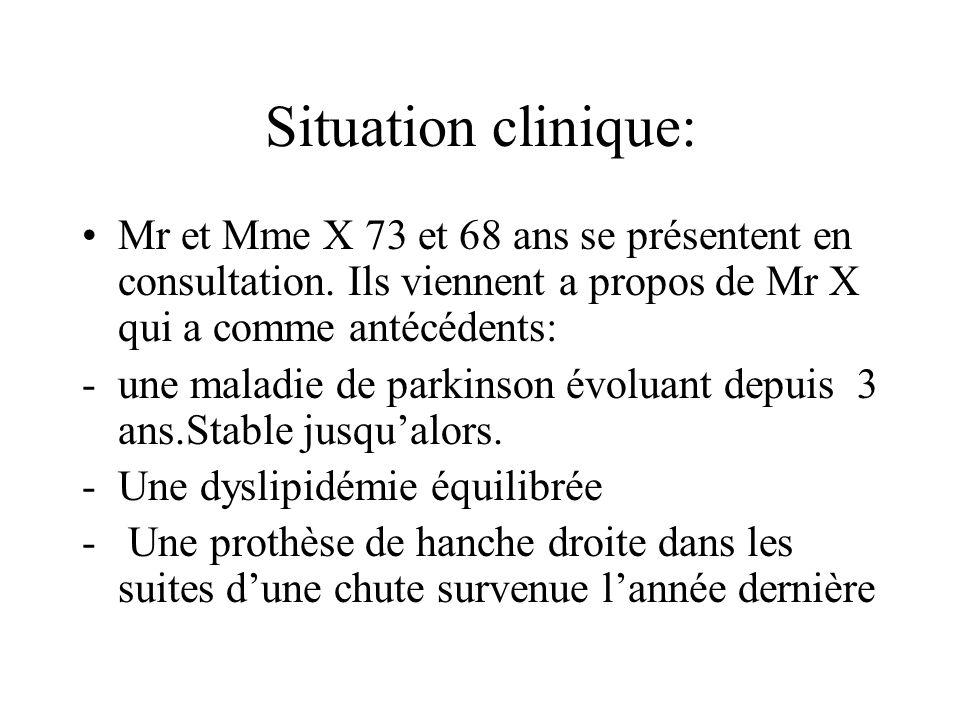 Situation clinique: Mr et Mme X 73 et 68 ans se présentent en consultation. Ils viennent a propos de Mr X qui a comme antécédents: