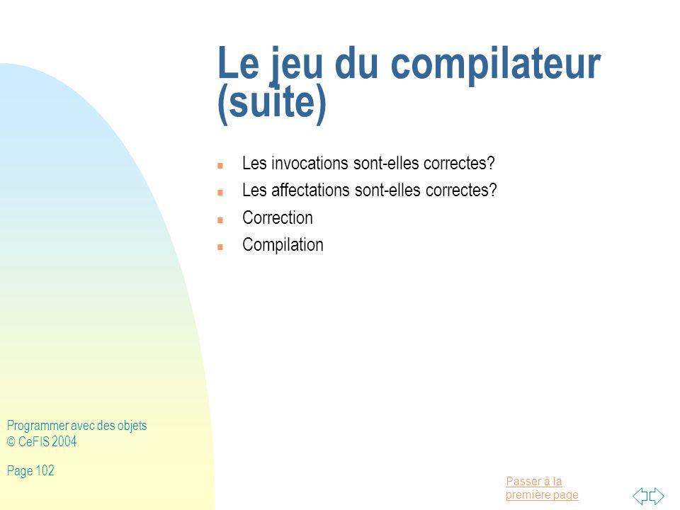 Le jeu du compilateur (suite)