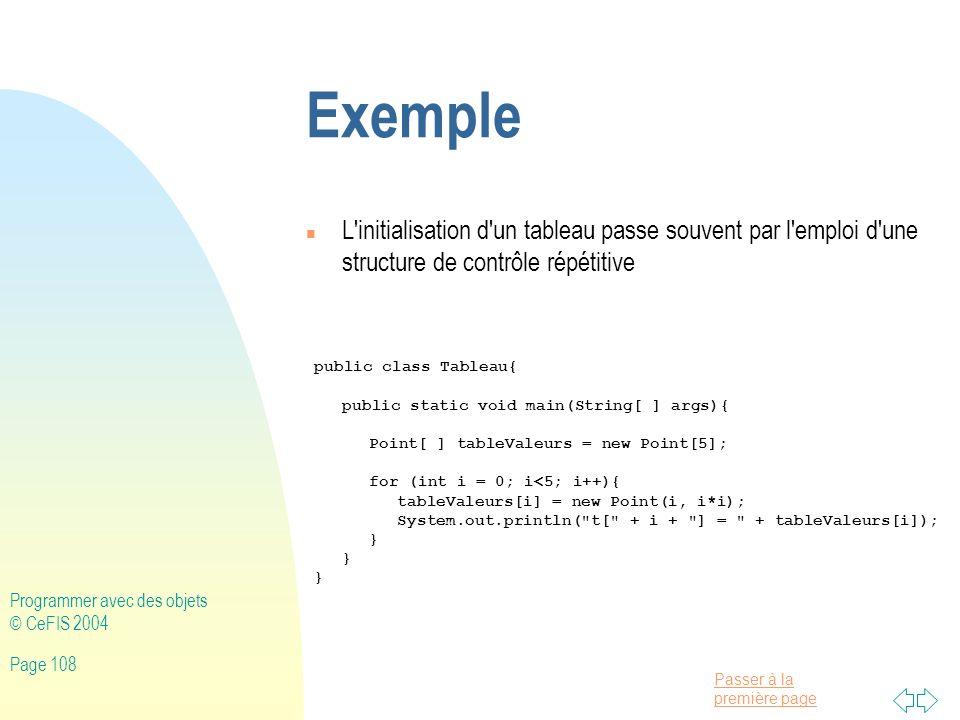 Exemple L initialisation d un tableau passe souvent par l emploi d une structure de contrôle répétitive.