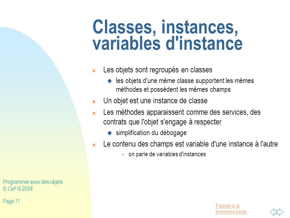 Classes, instances, variables d instance