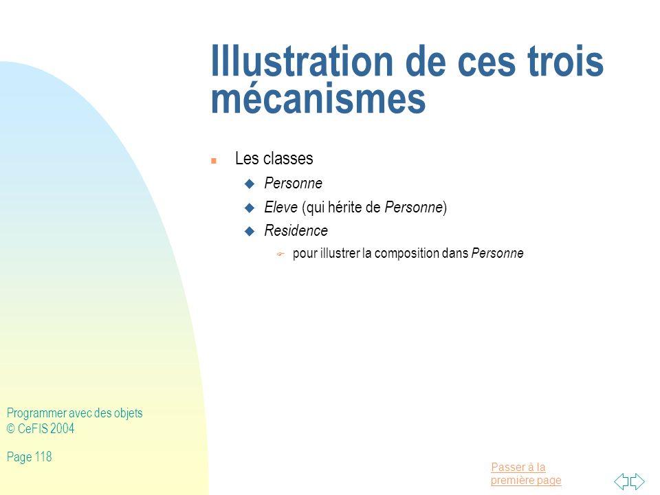 Illustration de ces trois mécanismes