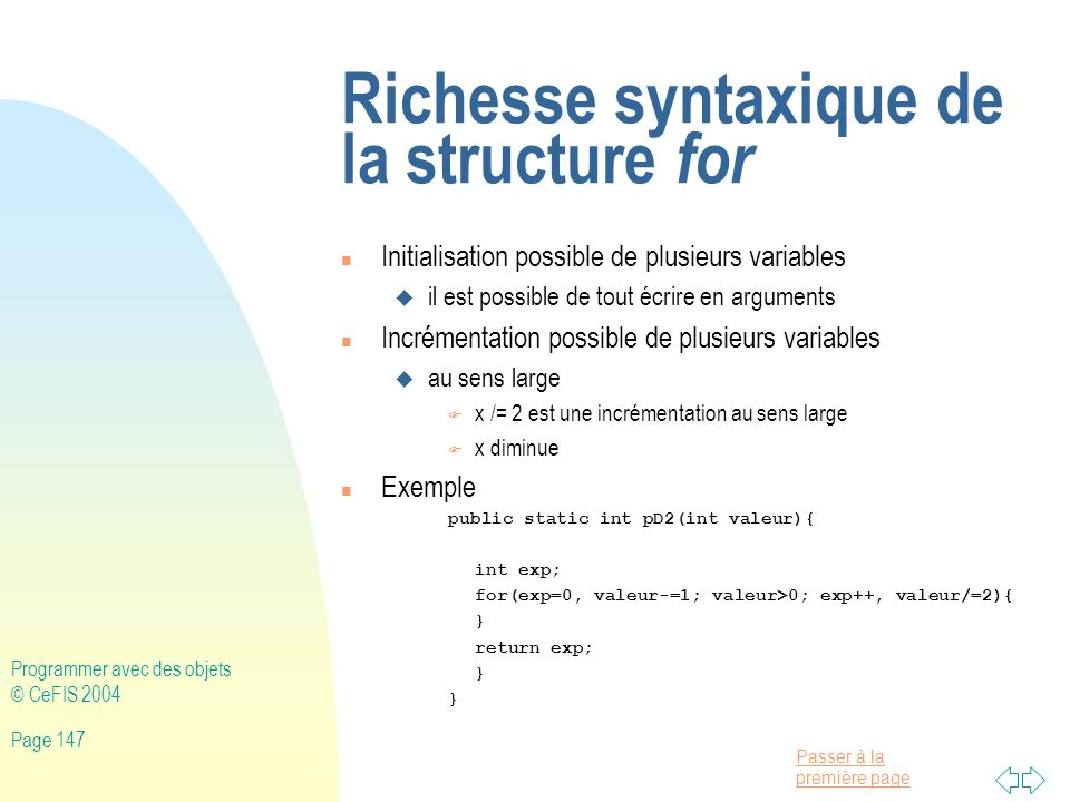 Richesse syntaxique de la structure for