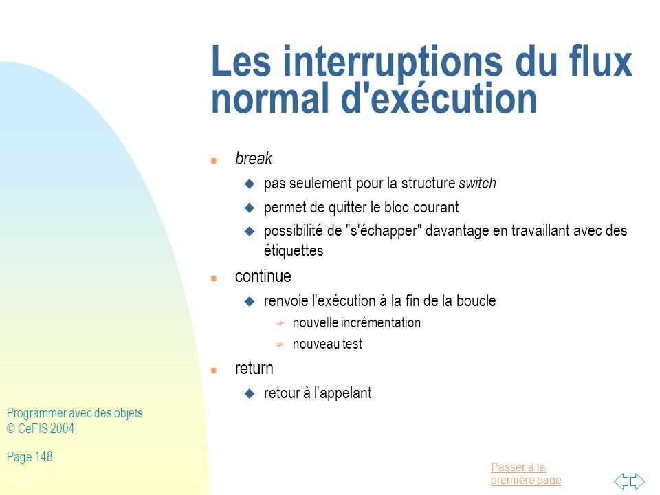 Les interruptions du flux normal d exécution
