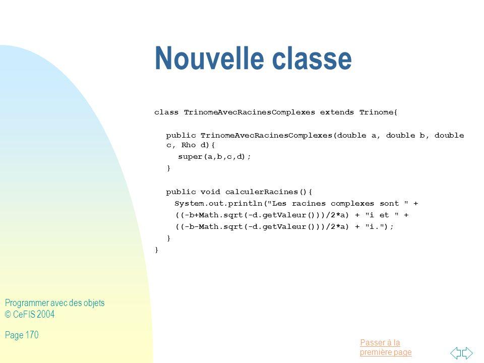 Nouvelle classe Programmer avec des objets © CeFIS 2004