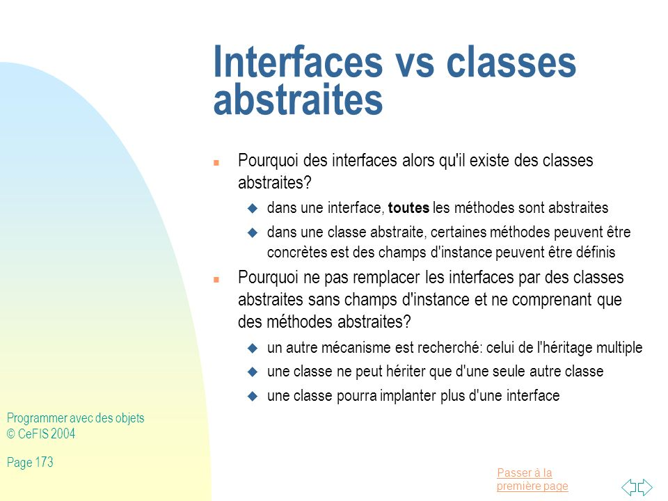 Interfaces vs classes abstraites