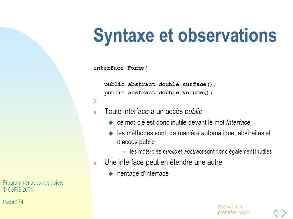Syntaxe et observations