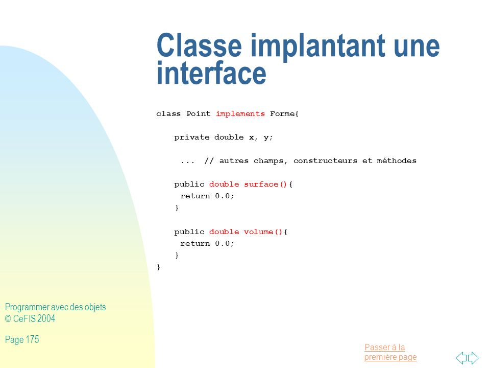 Classe implantant une interface