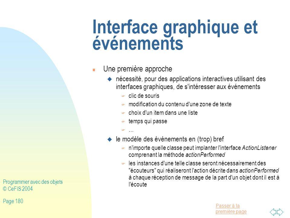 Interface graphique et événements
