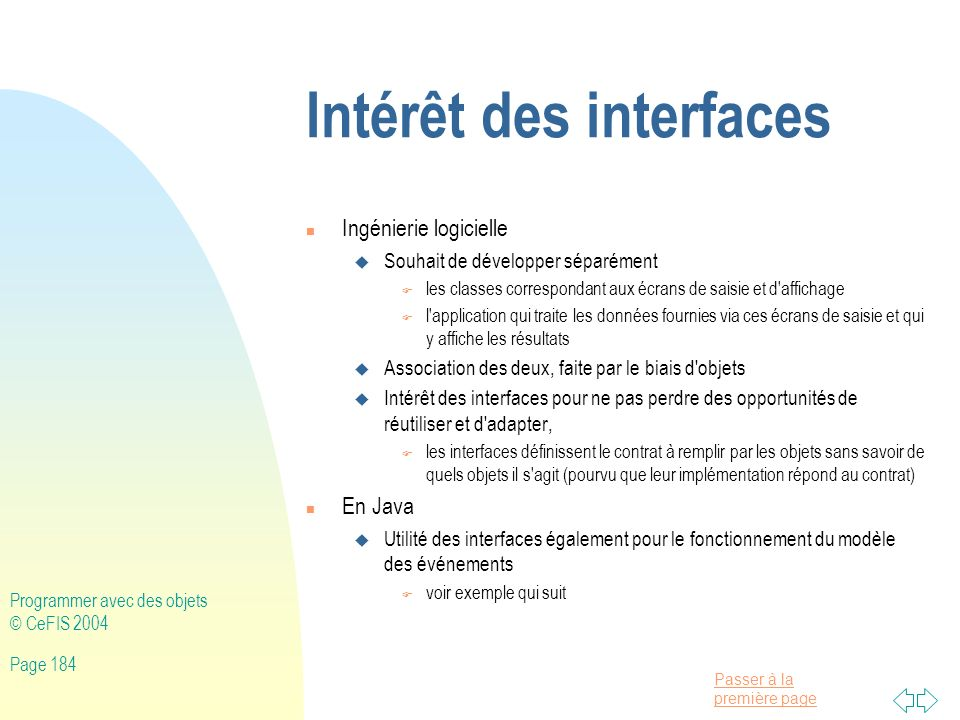 Intérêt des interfaces