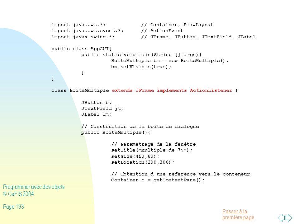Programmer avec des objets © CeFIS 2004