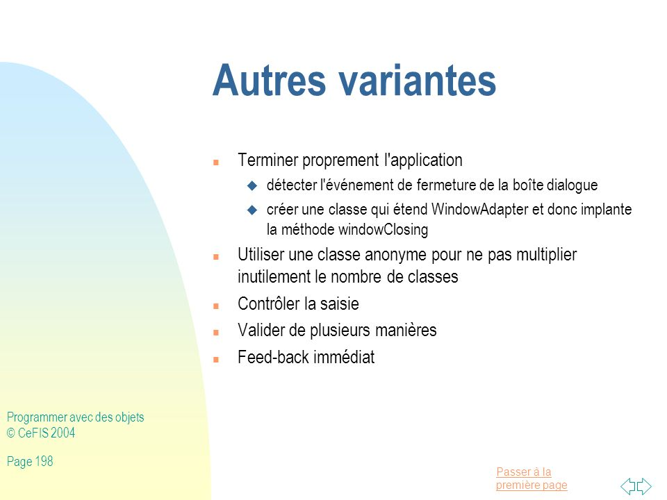 Autres variantes Terminer proprement l application