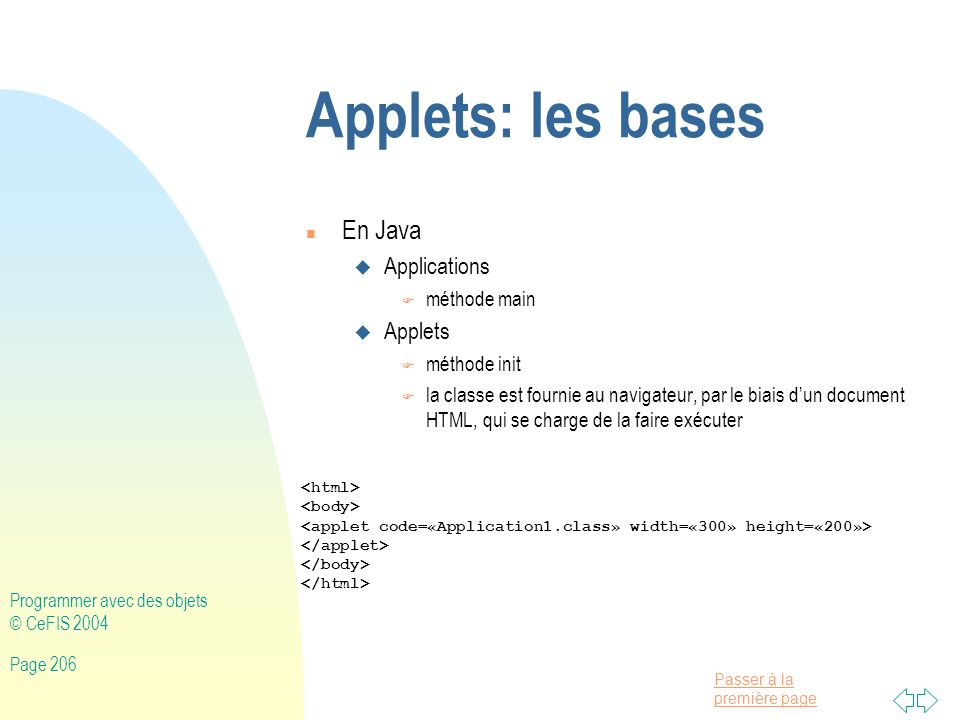Applets: les bases En Java Applications Applets méthode main