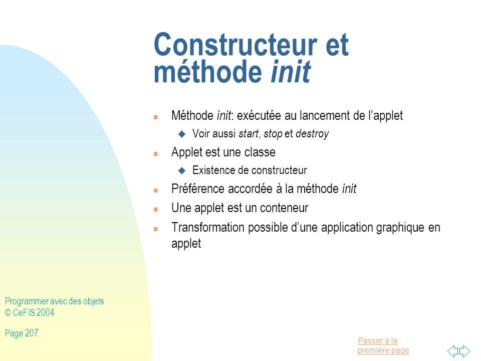Constructeur et méthode init