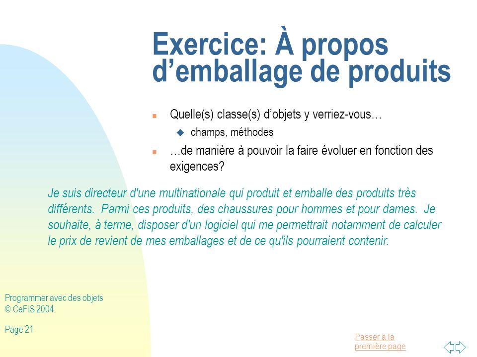 Exercice: À propos d'emballage de produits