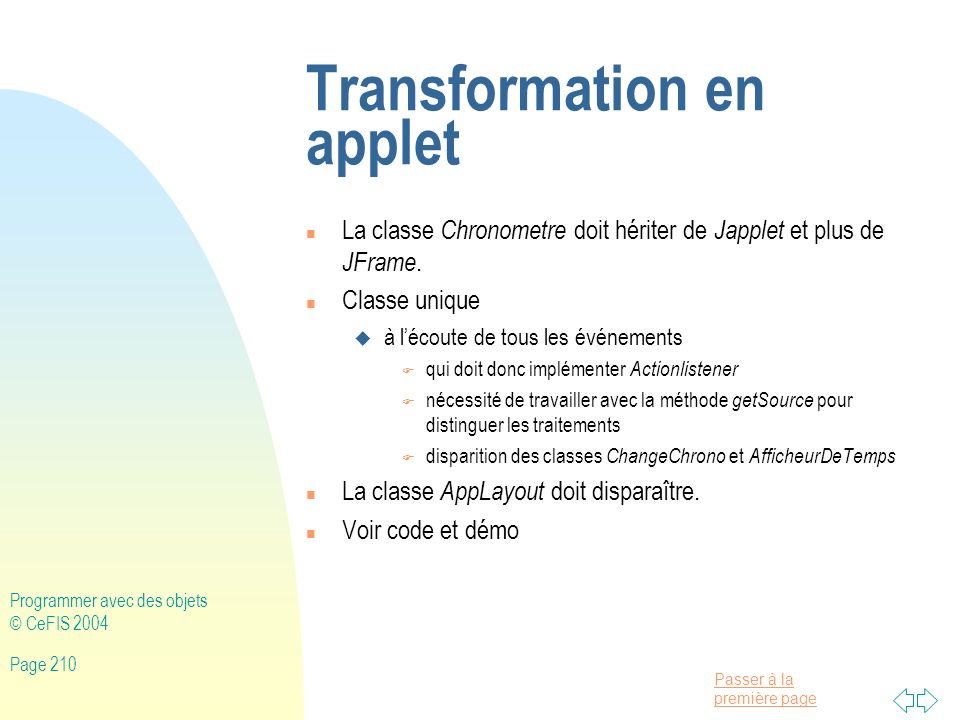 Transformation en applet