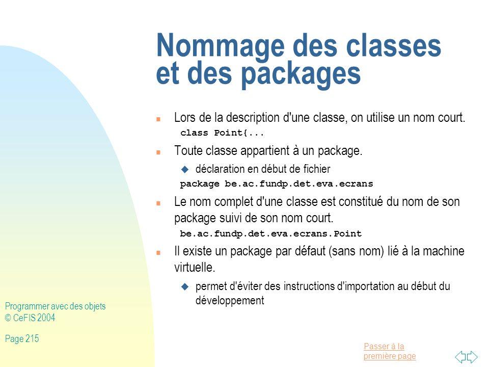 Nommage des classes et des packages
