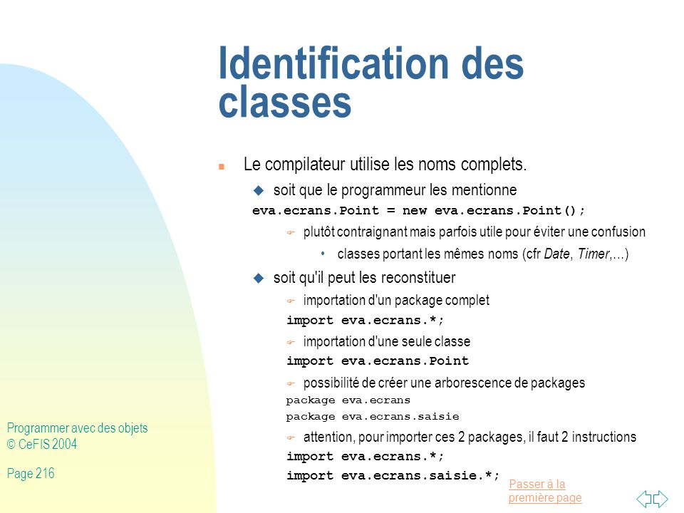 Identification des classes