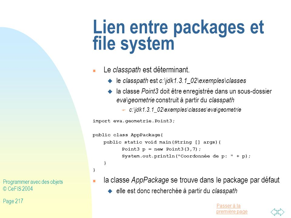 Lien entre packages et file system