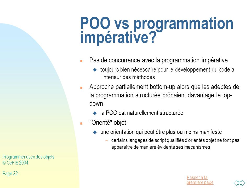 POO vs programmation impérative