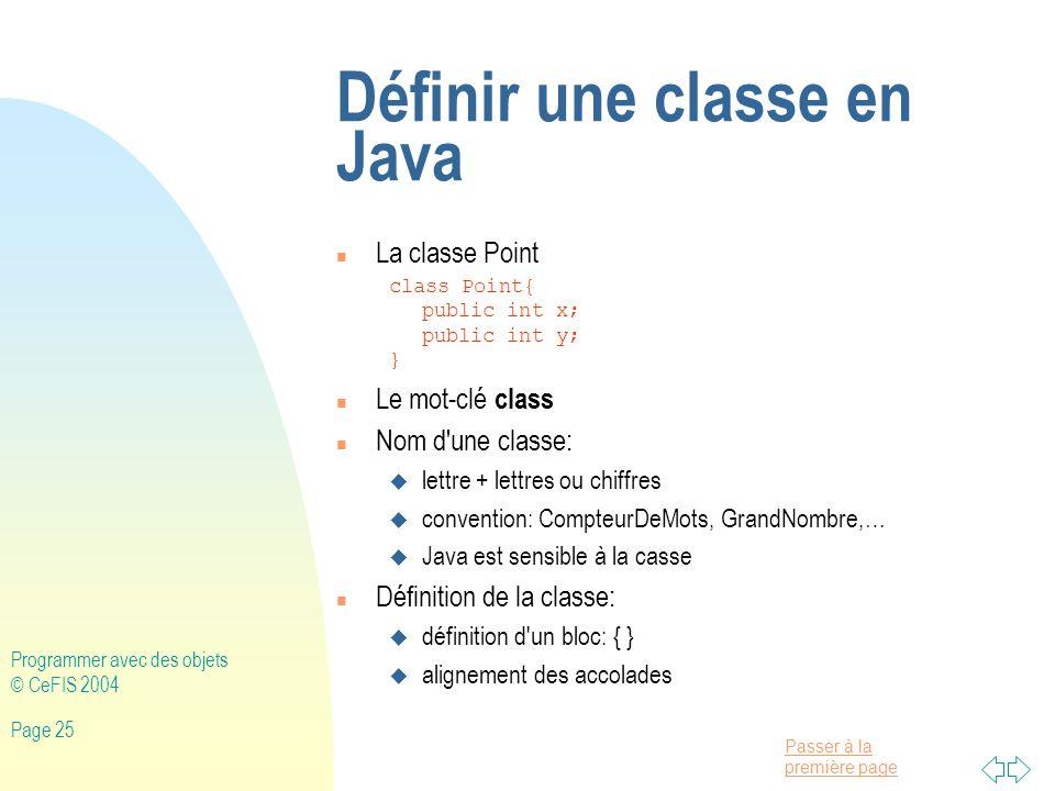 Définir une classe en Java