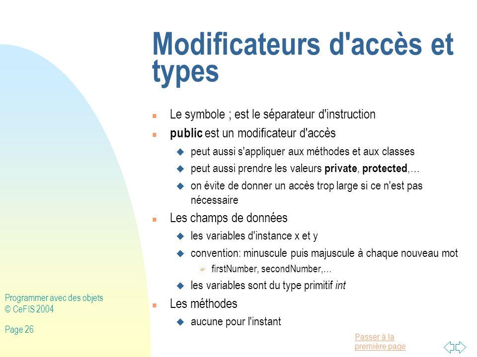 Modificateurs d accès et types