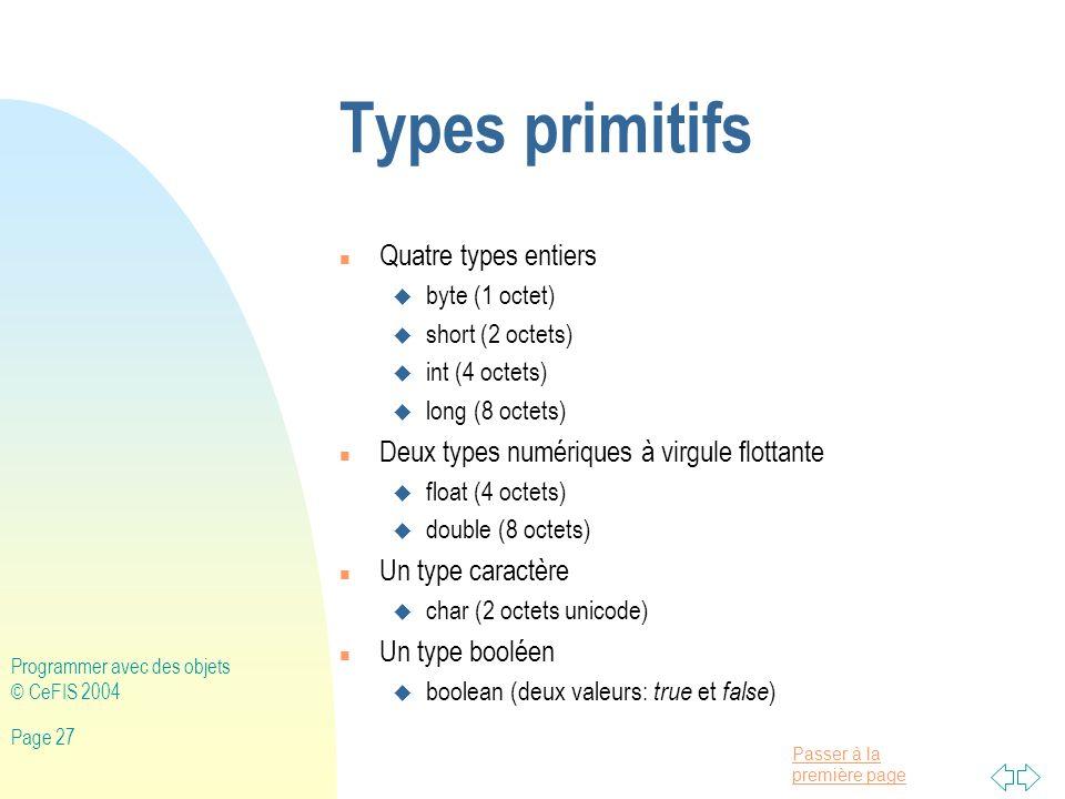 Types primitifs Quatre types entiers