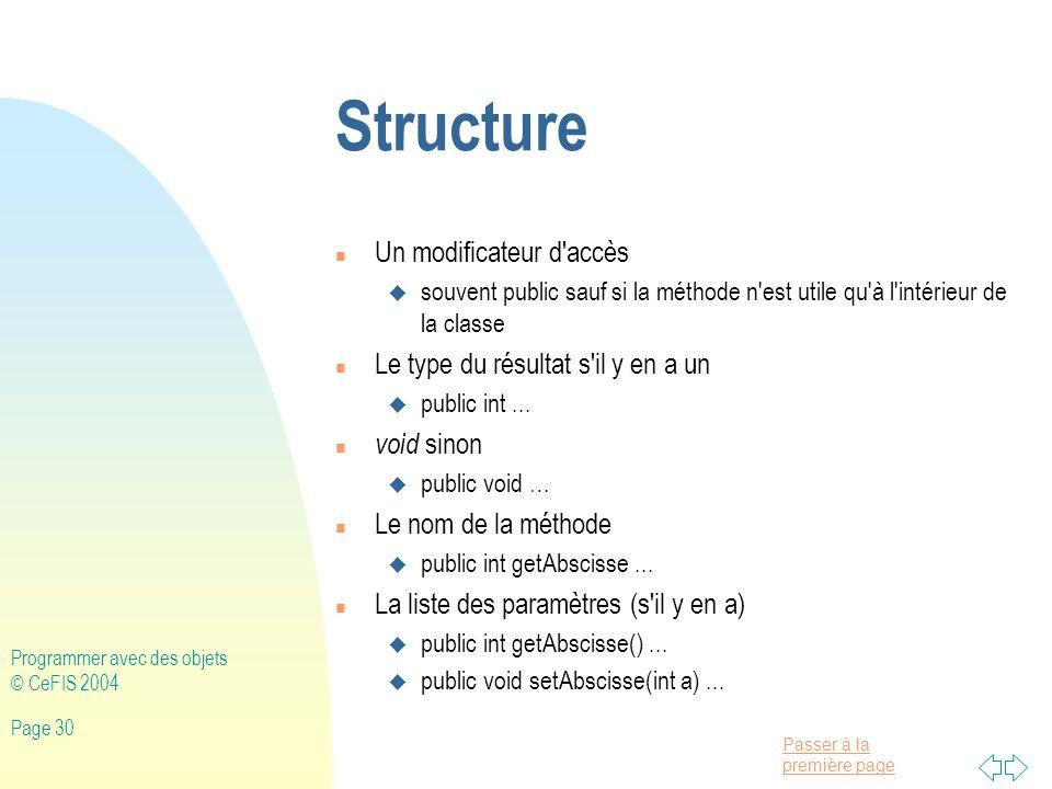 Structure Un modificateur d accès Le type du résultat s il y en a un