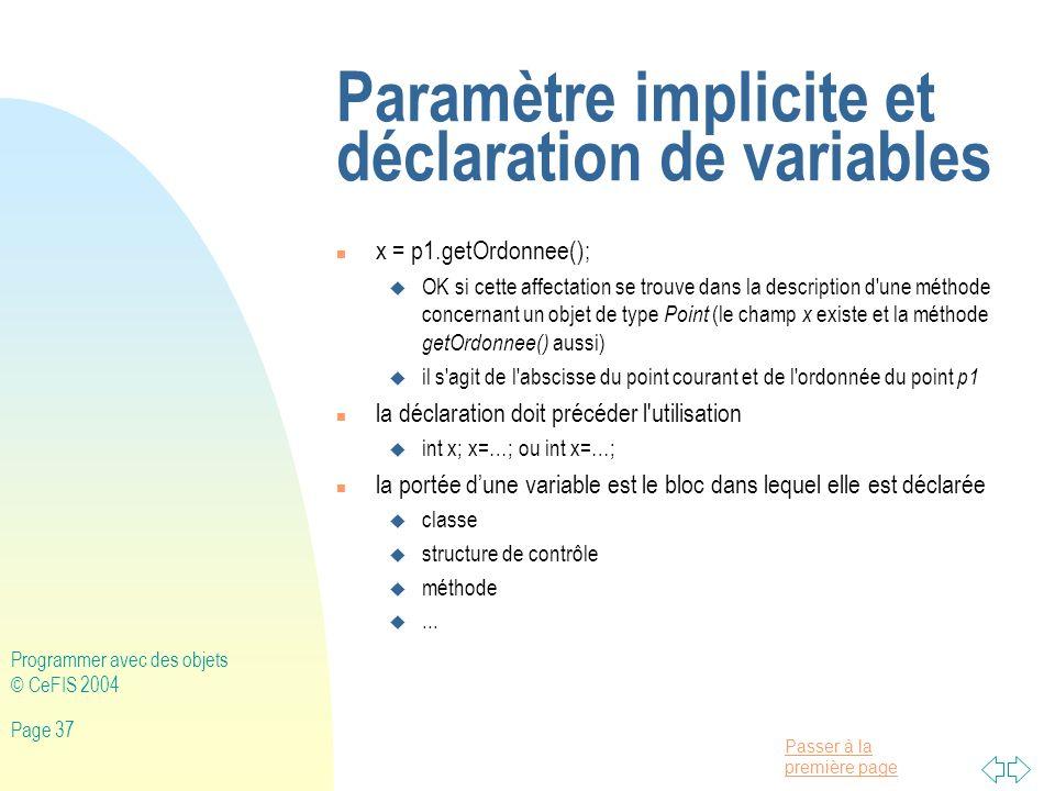 Paramètre implicite et déclaration de variables