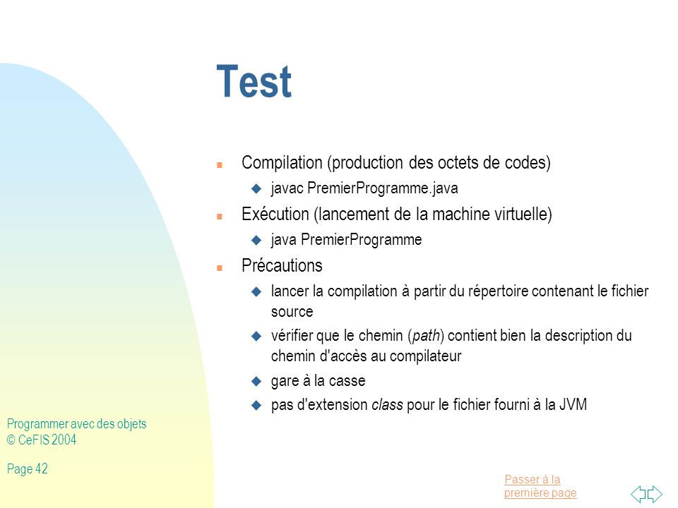 Test Compilation (production des octets de codes)