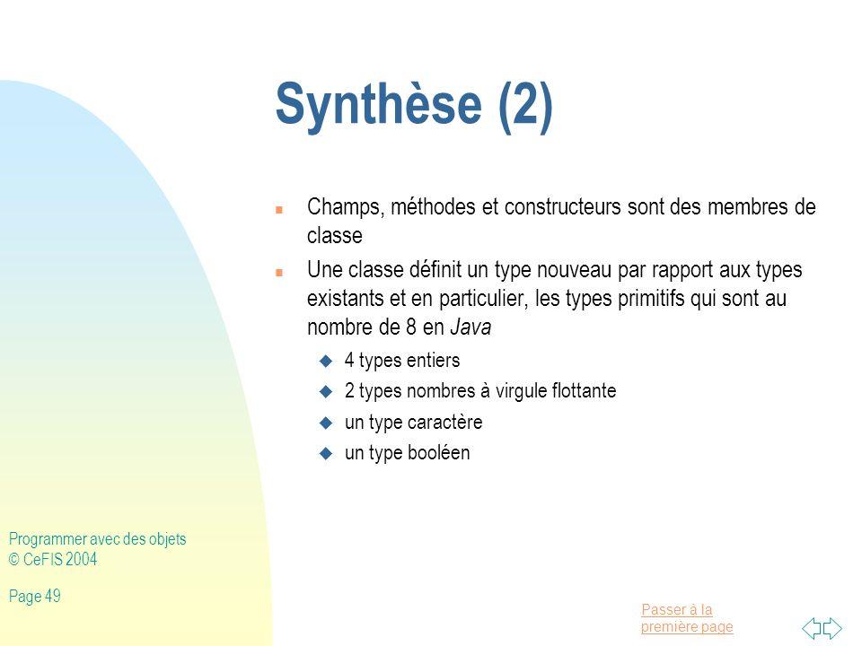 Synthèse (2) Champs, méthodes et constructeurs sont des membres de classe.