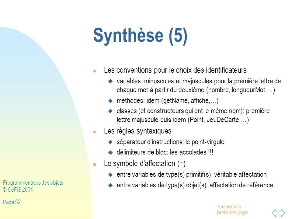 Synthèse (5) Les conventions pour le choix des identificateurs