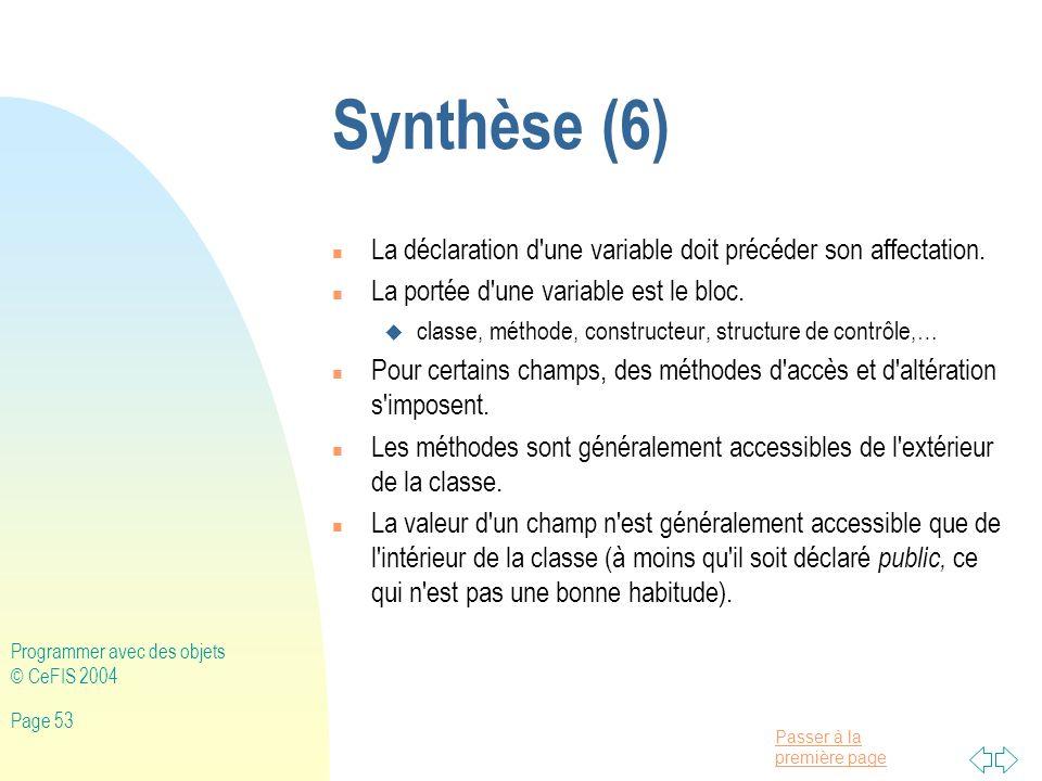 Synthèse (6) La déclaration d une variable doit précéder son affectation. La portée d une variable est le bloc.