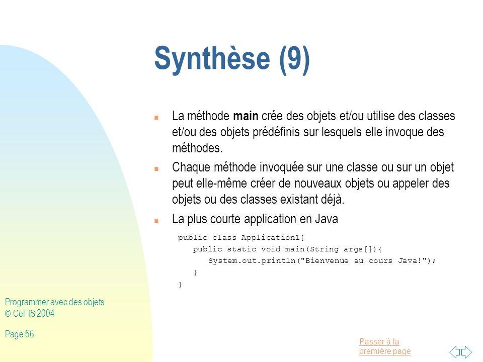 Synthèse (9) La méthode main crée des objets et/ou utilise des classes et/ou des objets prédéfinis sur lesquels elle invoque des méthodes.