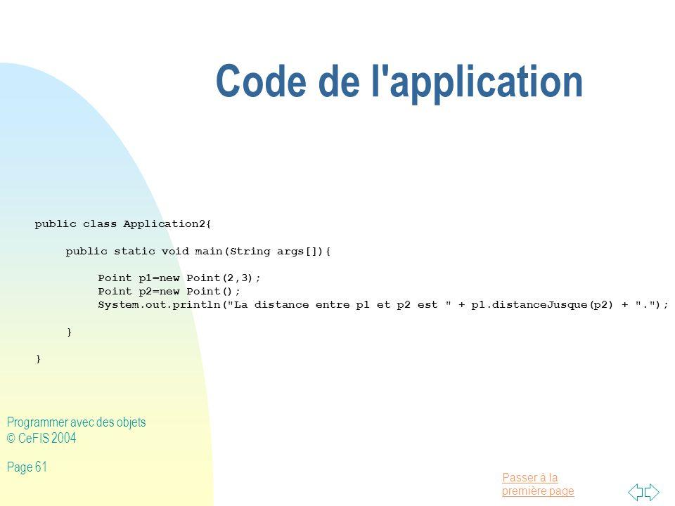 Code de l application Programmer avec des objets © CeFIS 2004