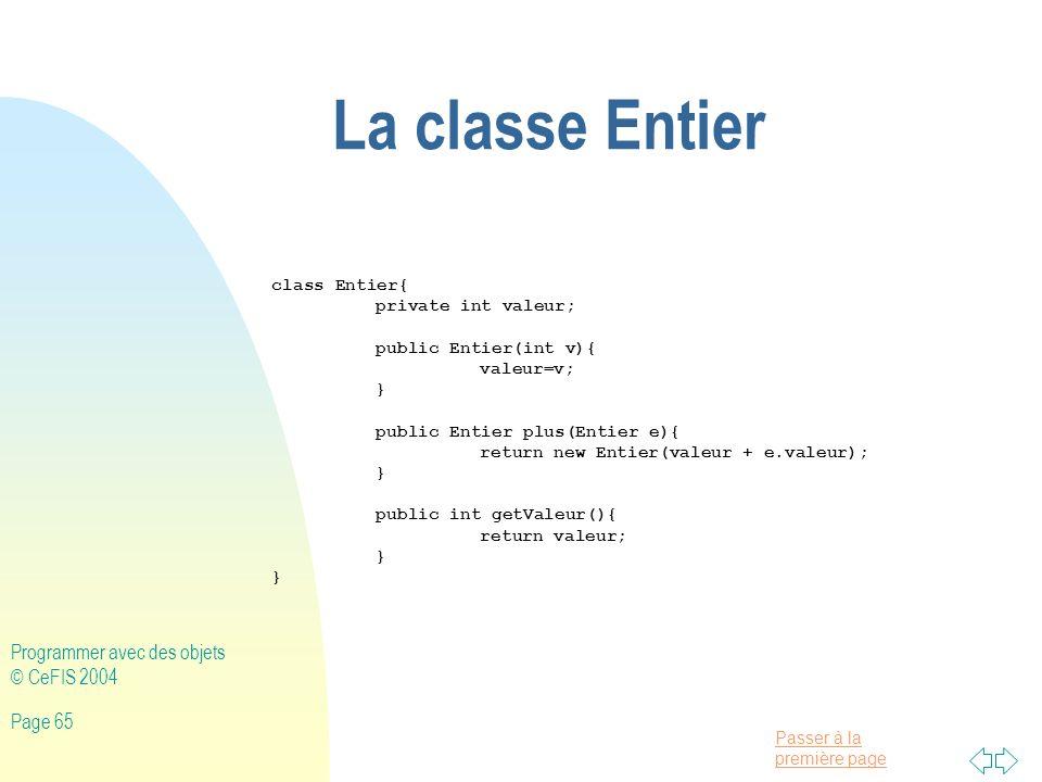 La classe Entier Programmer avec des objets © CeFIS 2004 class Entier{