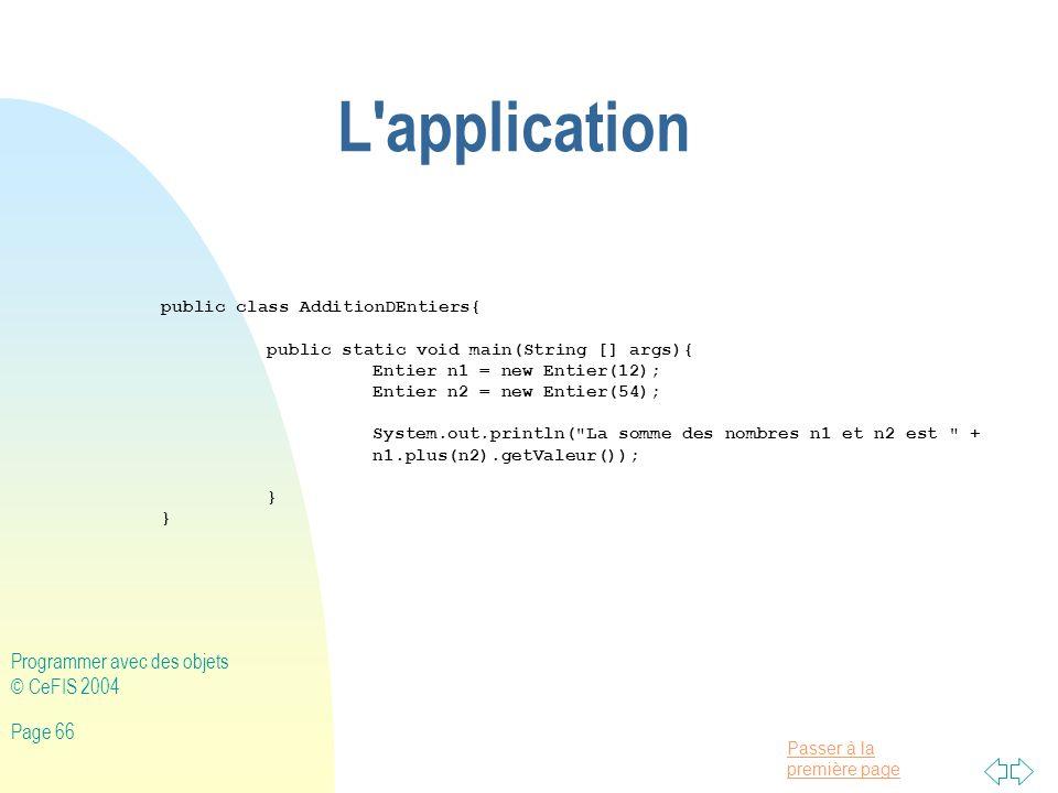 L application Programmer avec des objets © CeFIS 2004