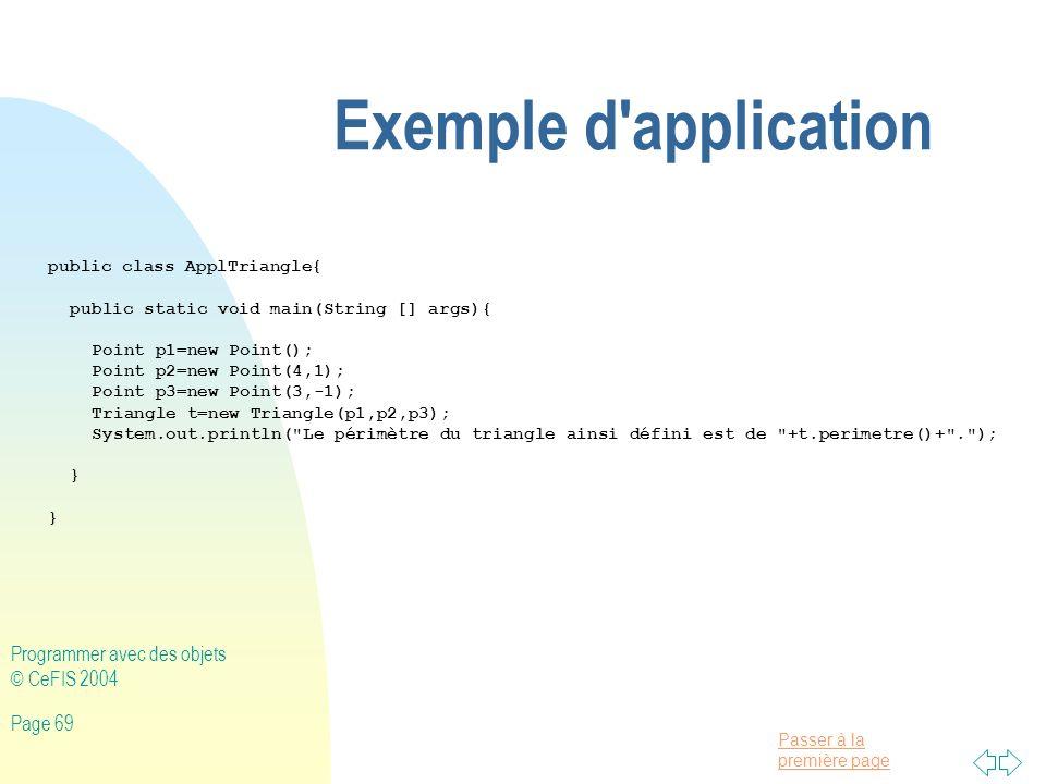 Exemple d application Programmer avec des objets © CeFIS 2004