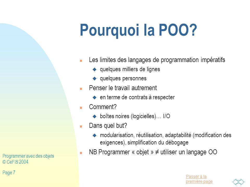 Pourquoi la POO Les limites des langages de programmation impératifs