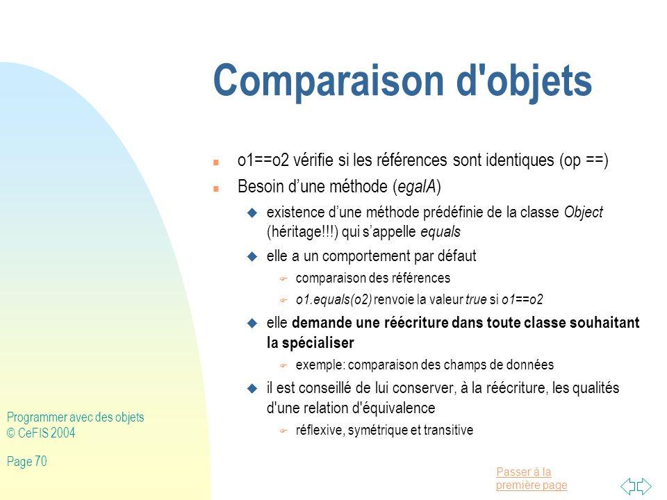 Comparaison d objets o1==o2 vérifie si les références sont identiques (op ==) Besoin d'une méthode (egalA)