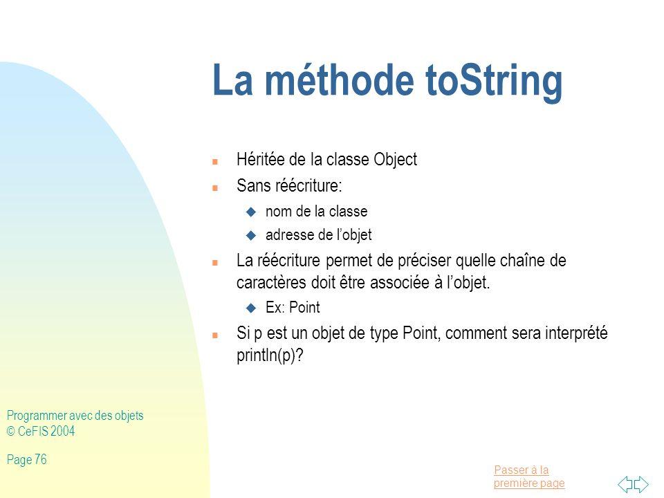 La méthode toString Héritée de la classe Object Sans réécriture:
