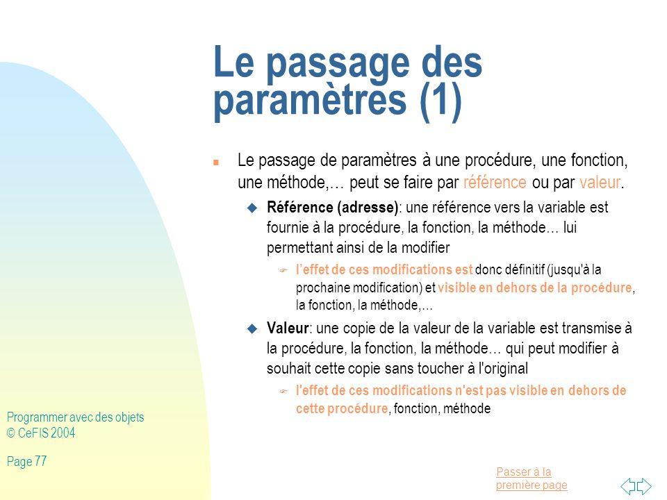 Le passage des paramètres (1)