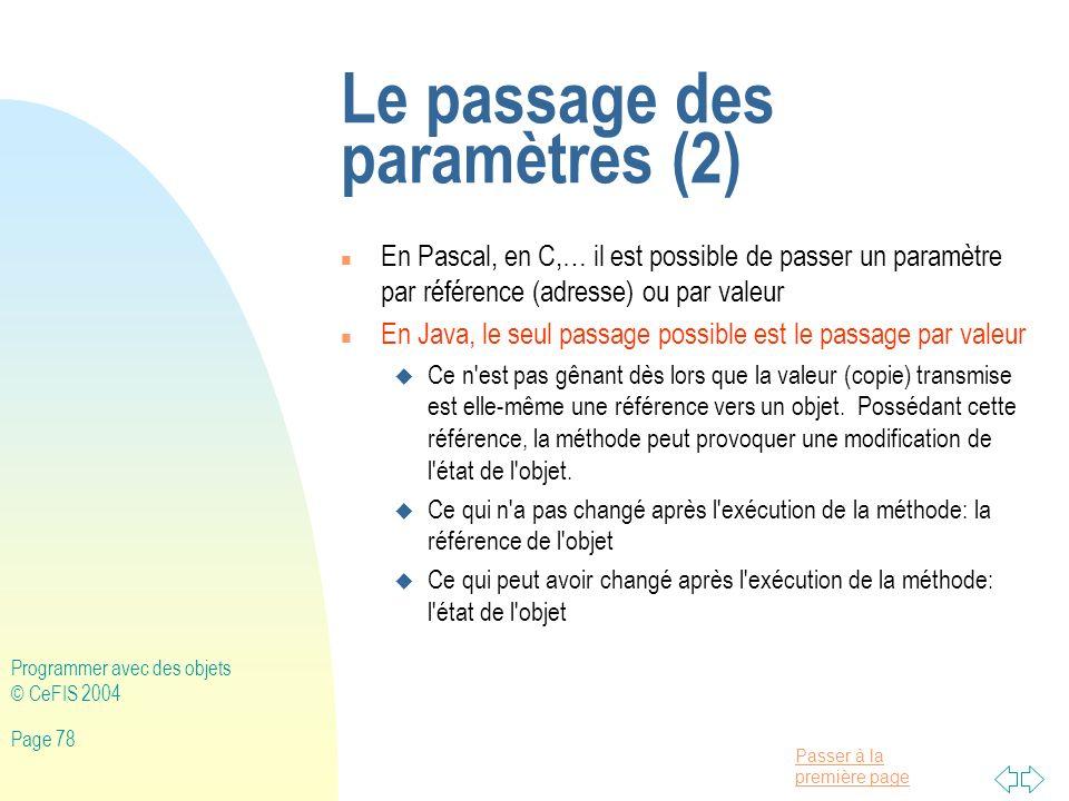 Le passage des paramètres (2)